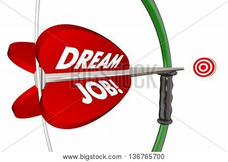 Dream Job Bow Arrow Hitting Target Words 3d Illustration