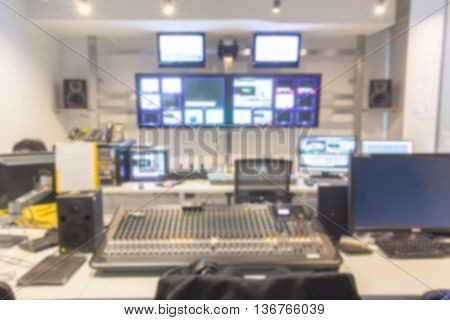 Blur image broadcast a Television control room