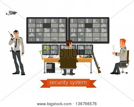 security room in which working professionals. Vector illustration in a flat style.