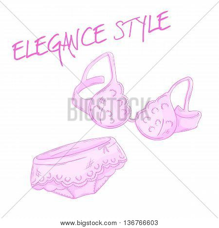 vector hand drawn pink lace bra and panties isolated on white backdrop.
