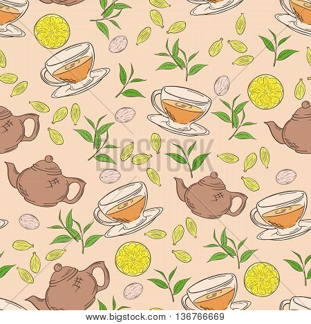 vector hand drawn seamless pattern with coloured cup of tea teapot leaf and lemon.