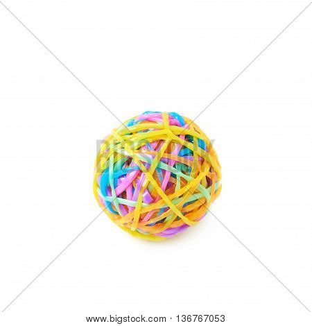 Ball made of colorful rubber loom bands isolated over the white background
