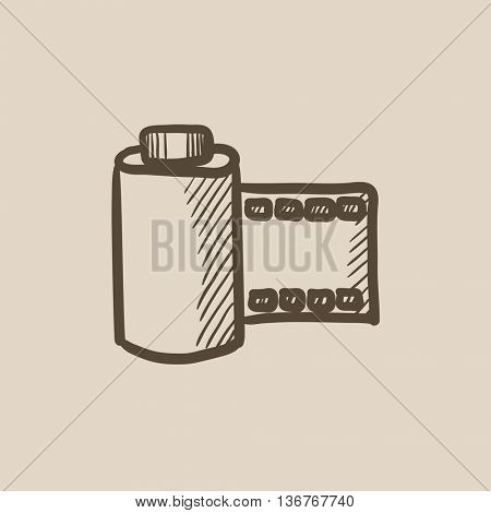Camera roll vector sketch icon isolated on background. Hand drawn Camera roll icon. Camera roll sketch icon for infographic, website or app.