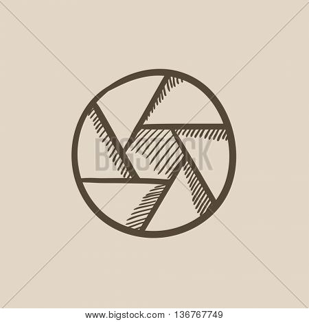 Camera shutter vector sketch icon isolated on background. Hand drawn Camera shutter icon. Camera shutter sketch icon for infographic, website or app.