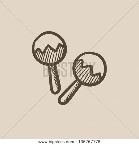 Maracas vector sketch icon isolated on background. Hand drawn Maracas icon. Maracas sketch icon for infographic, website or app.