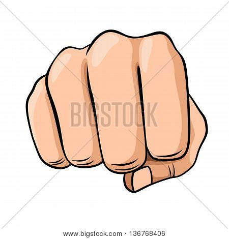 Draw a fist isolated on white background