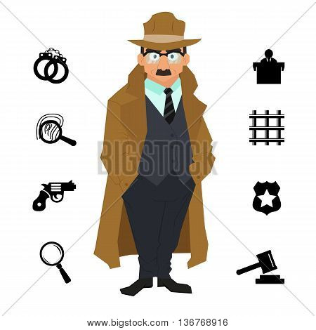 detective character design with equipment. icon set elements. Detective cartoon isolated on a white background. vector