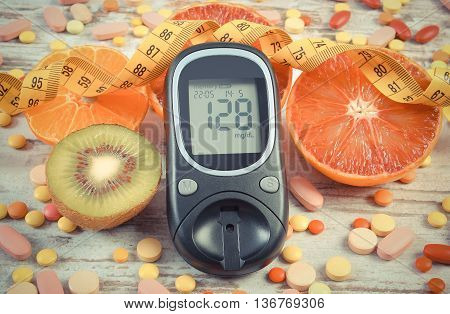 Vintage Photo, Glucometer With Result, Centimeter, Fruits And Medical Pills, Diabetes, Slimming, Hea