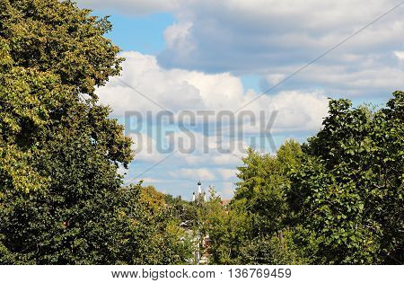 View of the Kremlin of Uglich. View from afar. Russia summer.