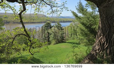 Catskill Mountains landscape with Hudson River in Hyde Park, New York in spring.