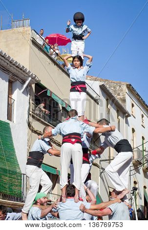 Castells Performance   In Torredembarra, Catalonia, Spain