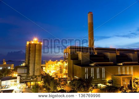 Cement factory at evening