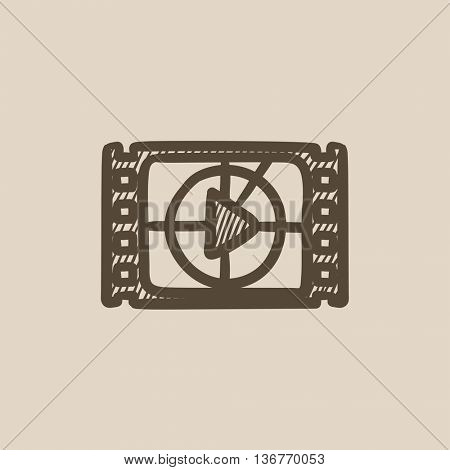 Film strip with play button vector sketch icon isolated on background. Hand drawn Film strip with play button icon. Film strip with play button sketch icon for infographic, website or app.