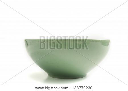 empty green olive bowl isolate on white background