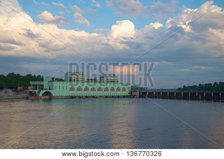 View on the Volkhov hydroelectric station in the june twilight. Russia