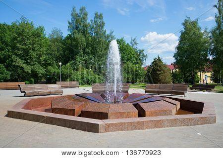 NOVGOROD REGION, RUSSIA - JUNE 02, 2016: Muravyov fountain closeup on a sunny june day. The Resort of Staraya Russa. The main landmark of the Staraya Russa