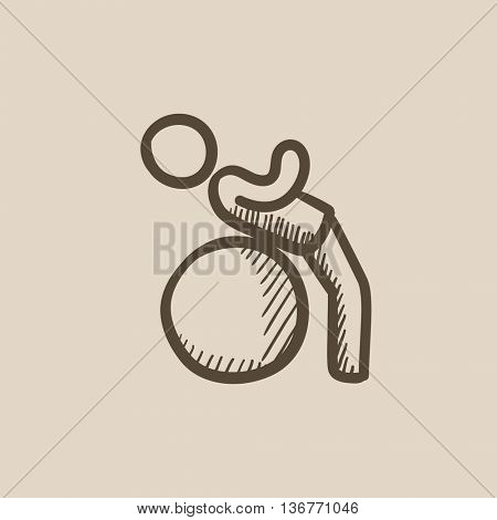 Man doing exercises on gym ball vector sketch icon isolated on background. Hand drawn Man doing exercises on gym ball icon. Man doing exercises on gym ball sketch icon for infographic, website or app.