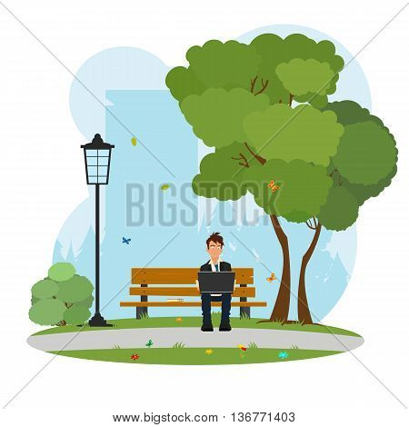 a man sitting in the park and works on laptop. student in the park with a laptop. vector