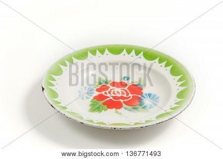 empty old thai zinc galvanized plate isolated on white background