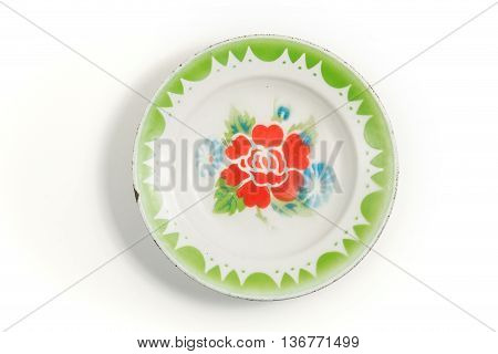 top view empty old thai zinc galvanized plate isolated on white background