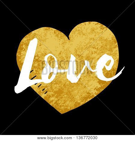 Vector Love inscription with hand drawn gold heart Isolateddoodle gold illustration on black background design for greeting card poster banner printing mailing