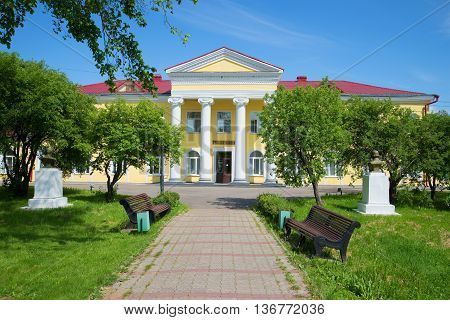 NOVGOROD REGION, RUSSIA - JUNE 02, 2016: On a sunny june day at the building of the mud baths. The resort of Old Russa. Historical landmark of the Old Russa