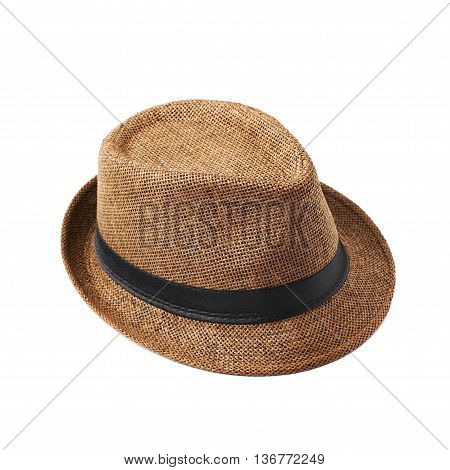 Brown fedora hat isolated over the white background