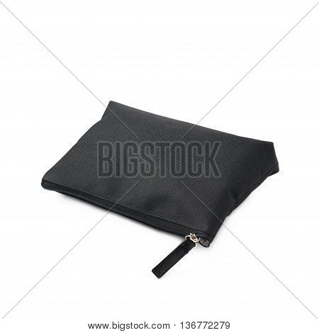 Black cosmetic bag with a zipper isolated over the white background