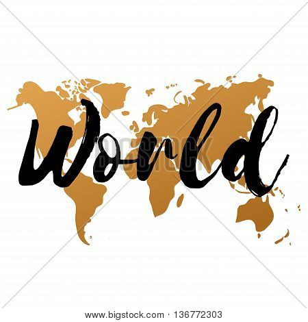 Vector gold world map on white background doodle. World map vector. World Gold map design. World map art. World map illustration. World map sign. World map flat. World map picture. World text.