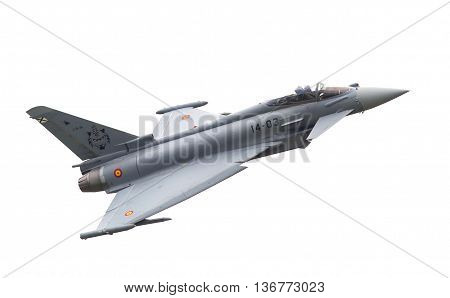 Leeuwarden, The Netherlands - June 11: Spanish Air Force Eurofighter Typhoon Flying During The Dutch