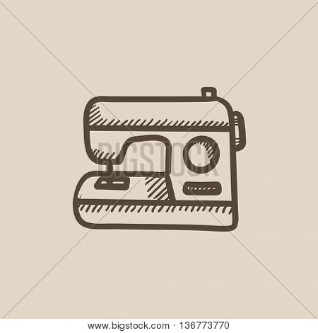 Sewing-machine vector sketch icon isolated on background. Hand drawn Sewing-machine icon. Sewing-machine sketch icon for infographic, website or app.