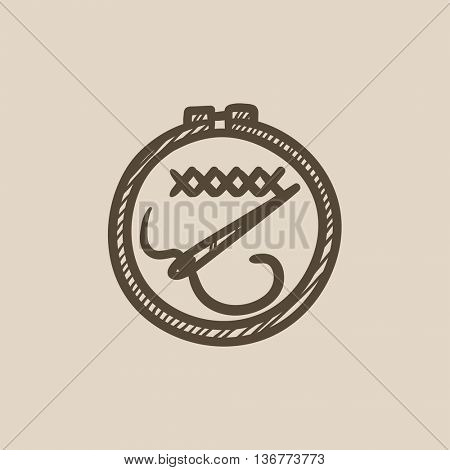 Embroidery vector sketch icon isolated on background. Hand drawn Embroidery icon. Embroidery sketch icon for infographic, website or app.