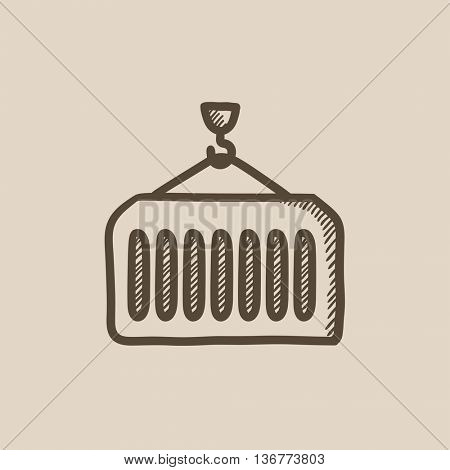 Cargo container vector sketch icon isolated on background. Hand drawn Cargo container icon. Cargo container sketch icon for infographic, website or app.