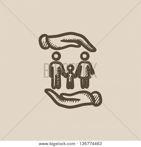 Family and hands vector sketch icon isolated on background. Hand drawn Family and hands icon. Family and hands sketch icon for infographic, website or app.