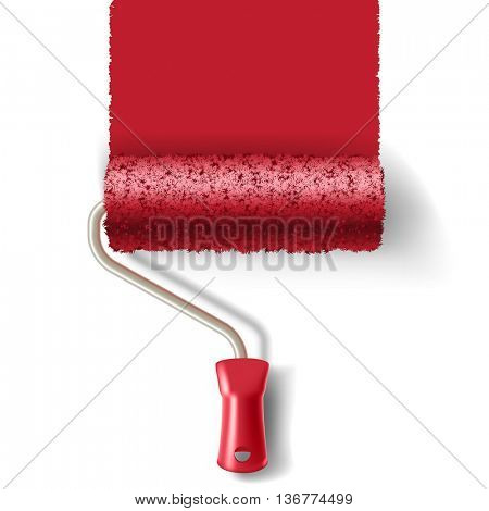 Paint roller brush with red paint track isolated on white background. applicable for banners and labels.
