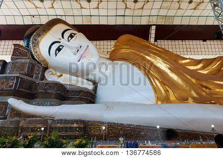 BAGO (Pegu), MYANMAR - APRIL 2016: Shwethalyaung buddha the giant reclining was closed for repairs in Bago Myanmar 4 April 2016.
