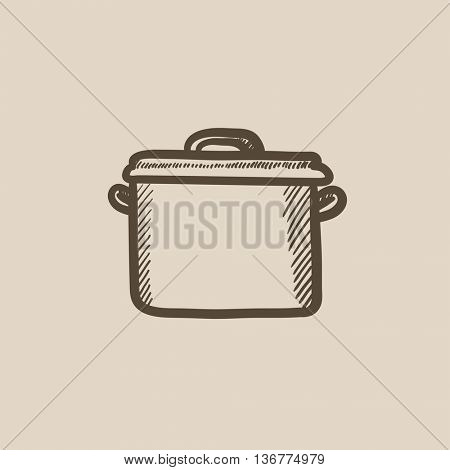 Saucepan vector sketch icon isolated on background. Hand drawn Saucepan icon. Saucepan sketch icon for infographic, website or app.