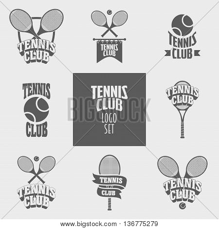 Set of tennis club logos badges or labels design templates with tennis balls and rockets