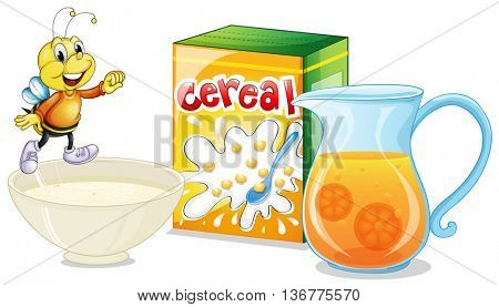 Cereal and orange juice for breakfast illustration