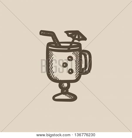 Glass with drinking straw and umbrella vector sketch icon isolated on background. Hand drawn Glass with drinking straw icon. Glass with drinking straw sketch icon for infographic, website or app.