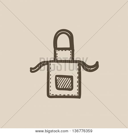 Kitchen apron vector sketch icon isolated on background. Hand drawn Kitchen apron icon. Kitchen apron sketch icon for infographic, website or app.