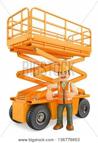 3d working people illustration. Construction worker with a scissor lift. Isolated white background.