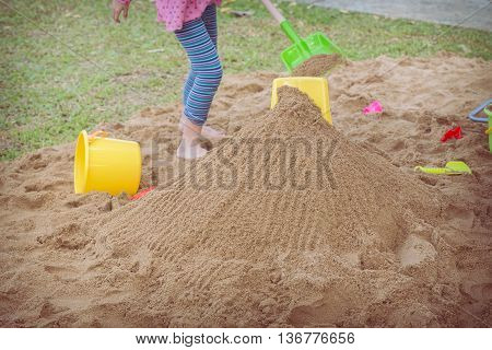 kid's toys for playing sand bucket and shovel enjoy with activity of family