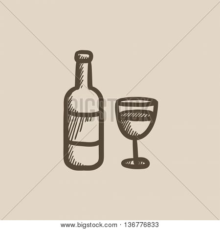 Bottle of wine vector sketch icon isolated on background. Hand drawn Bottle of wine icon. Bottle of wine sketch icon for infographic, website or app.
