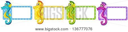Labels with colorful seahorses illustration