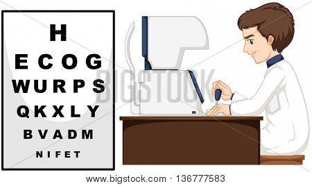 Eye doctor using eye checking machine illustration