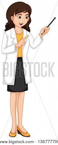 Female ophthalmologist checking eyes illustration