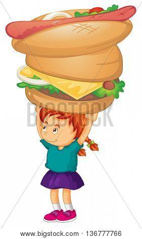 Little girl holding hamburger and hotdog illustration