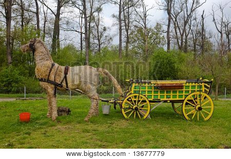 Decorative Straw Horse And Cart