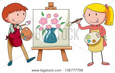 Two artists painting on canvas illustration
